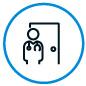Icon of doctor standing in front of door