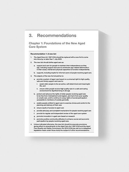 Image of a recommendations report